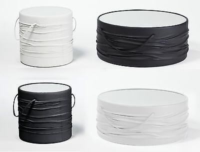 Glas Runde Sofa (Couchtisch Sofatisch Beistelltisch Kunstleder Glasplatte weiß schwarz rund Tisch)
