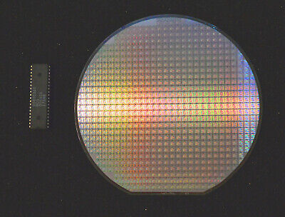 Silicon Wafer Collectors Set - 1992 Ds80c320 Cpu Wafer And Ds80c320 Cpu Chip.