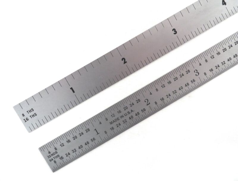 "Blem Cosmetic Second PEC 12"" Flexible Satin 4R machinist ruler 8/16/32/64ths"