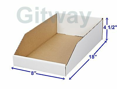 50- 8 X 18 X 4 12 Corrugated Cardboard Open Top Storage Parts Bin Bins Boxes