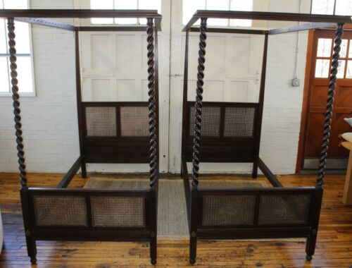 Pair Antique Barley Twist Canopy Beds