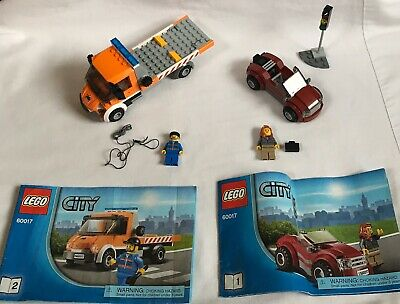 Lego City Set #60017 Flat Bed Tow Truck & Car With Minifigs Car 100% Complete