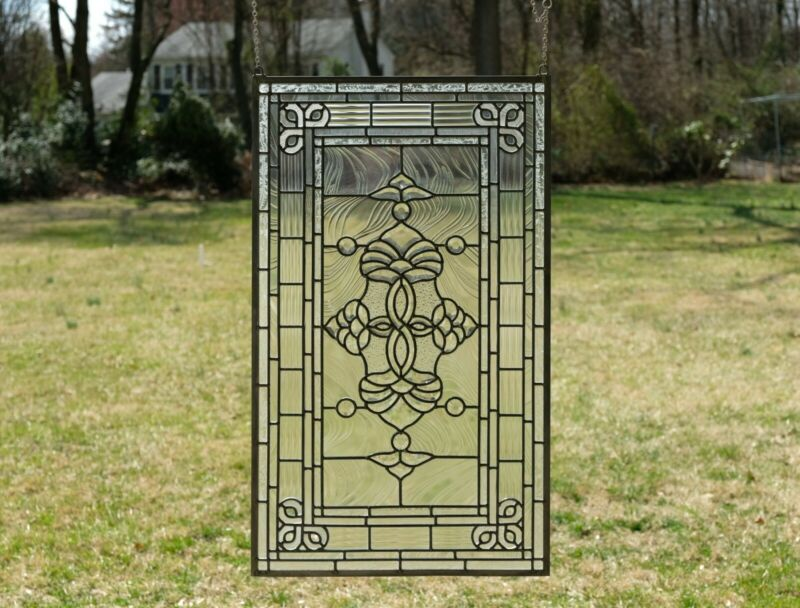 "20.5"" x 34.25"" Stunning Handcrafted All Clear stained glass Beveled window panel"