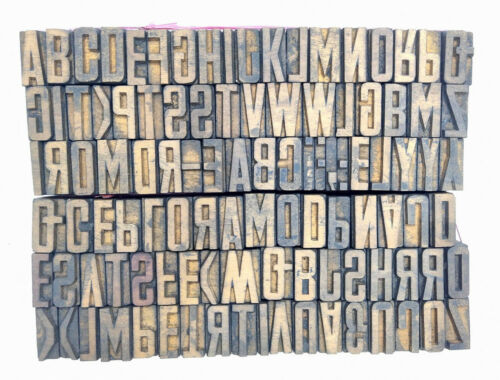 Vintage Letterpress wood/wooden printing type blocks typography 106 pc 30mm#LB44