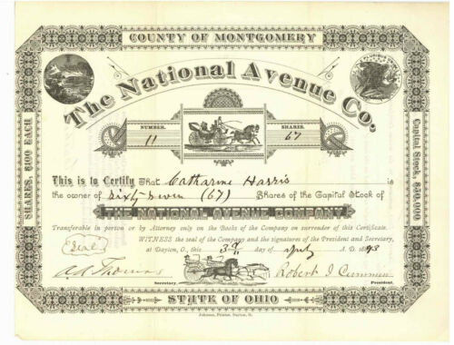 National Avenue Co. Stock Certificate. Ohio. 1893