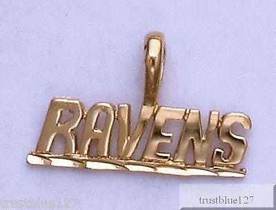 BALTIMORE RAVENS Team Name Pendant 24k Gold Plated Charm Team Fan Jewelry