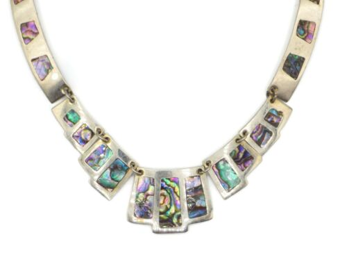 Vintage Mexico Silver Plated Abalone Collar Necklace 18 Inches