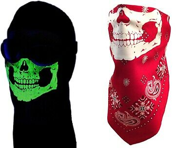 Dark Red Face (GLOW IN THE DARK RED PAISLEY SKULL HALF FACE BANDANA WIND MASK NECK DUST)