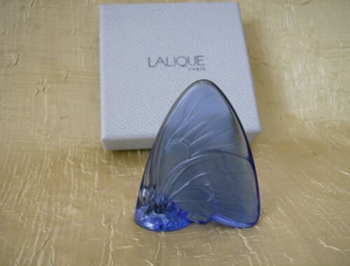 Lalique Crystal France Blue Butterfly Figurine w/Box