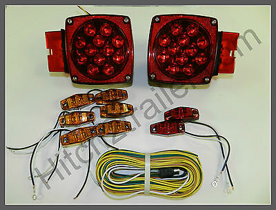 Submersible Truck Trailer Square LED Light kit, Stop Turn Tail, Over 80
