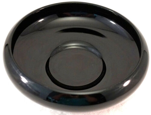Vintage LE Smith Black Amethyst Glass Low Bowl with Rounded Rim