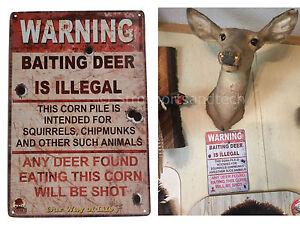 Warning Illegal Deer Baiting Hunting Funny Tin Sign Bar Garage Wall Decor Metal