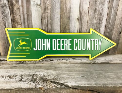 "John Deere Country Arrow 19"" Metal Tin Sign Vintage Style Farm Tractor Barn New"