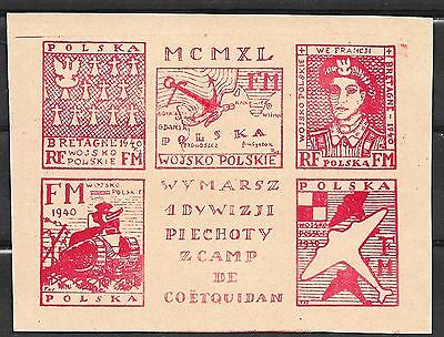 Poland stamps 1940 Sheet Polish Militairy Training Camp COËTQUIDAN -Brittany