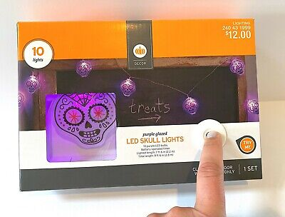 TARGET DECOR HALLOWEEN PURPLE GLAZED LED CANDY SUGAR SKULL 10 LIGHTS 7FT INDOOR