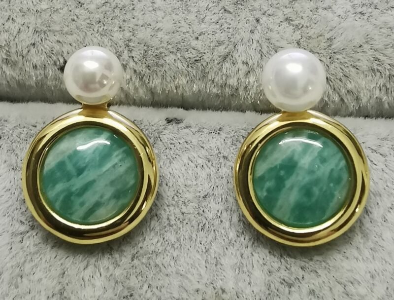 TOUS 712213530 Vermeil Silver Alecia Earrings with Pearl and Amazonite