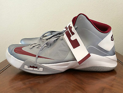 best sneakers 1f627 057fd Nike Lebron James Mens 17.5 Burgundy Gray Zoom Soldier 6 Basketball Shoes  525017