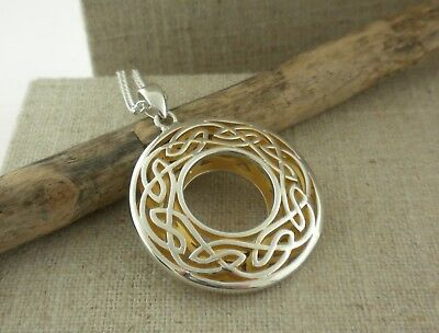 Sterling Silver Large Round Celtic Window to the Soul Pendant KEITH JACK Jewelry