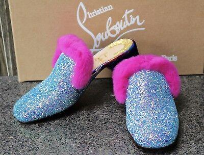 NIB Christian Louboutin BOUDIVA 35 GLITTER FUR MULES Shoes 38.5