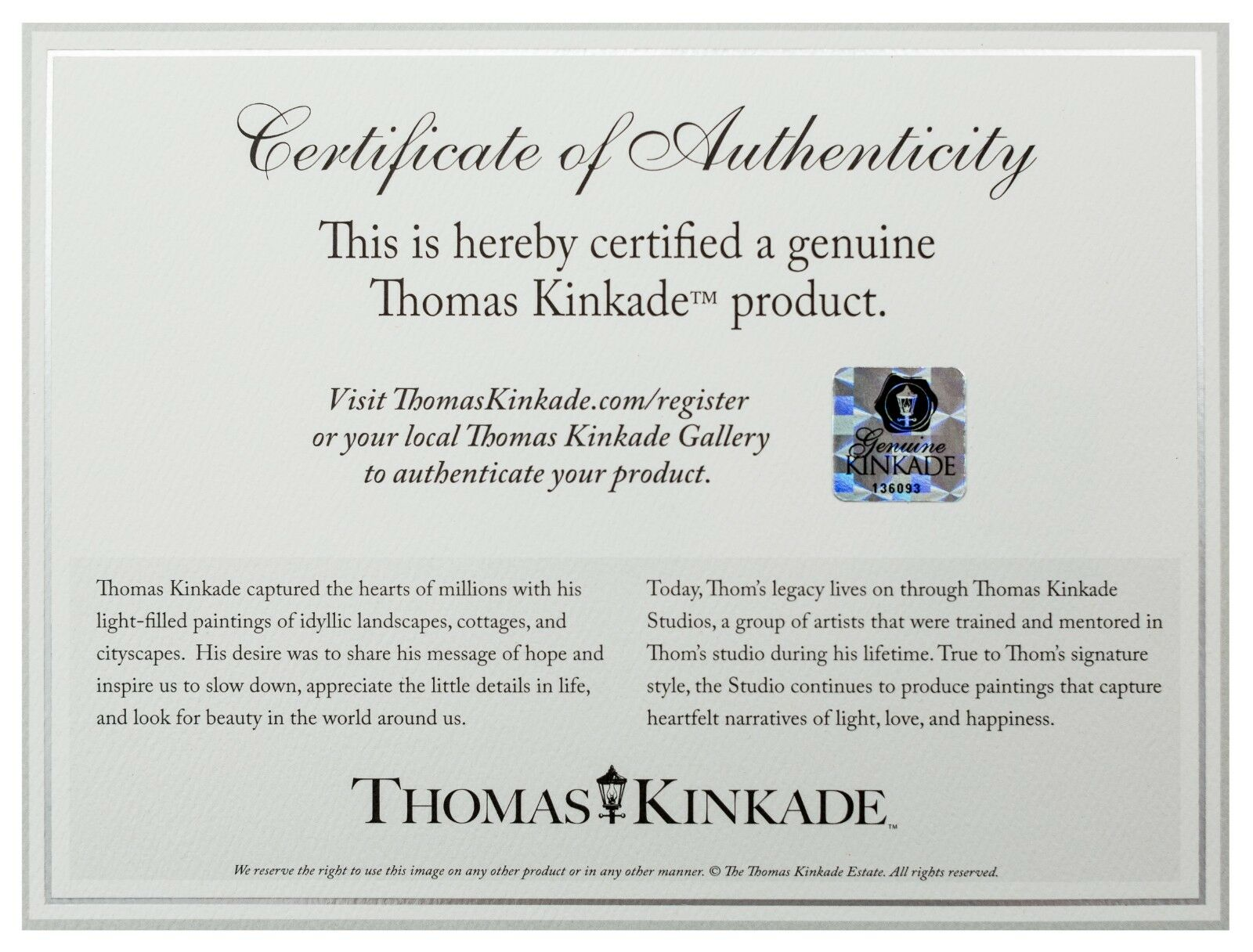 Thomas Kinkade 8.5 x11 Studio Prints-Choice of 7 Disney & Classic Kinkade Titles