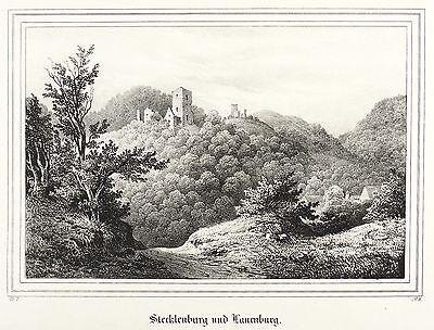 STECKLENBERG - BURGRUINEN STECKLENBURG & LAUENBURG - Saxonia - Lithografie 1837
