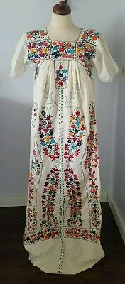 Vintage 70's mexican oaxacan embroidered floral wedding full length dress XS S