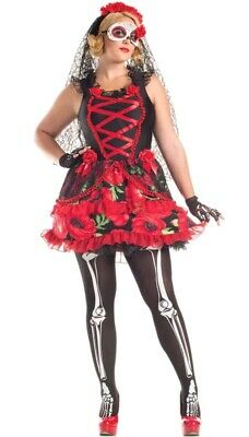 Party King Day of the Dead Senorita Plus Size Costume 1X(14-16) Red and Black](Plus Size Senorita Costume)