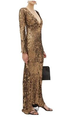 NWT Maria Lucia Hohan Ailish Plunge Neck-line Sequined Maxi Dress Gold Size 6
