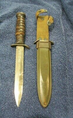 US M3 IMPERIAL FIGHTING KNIFE W/ US M8 BM CO. SCABBARD. WWII. LOOK!