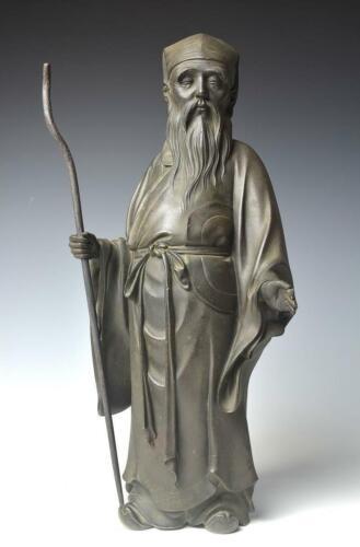Japanese Antique Taoist Deity Jurojin Bronze Statue Meiji Period