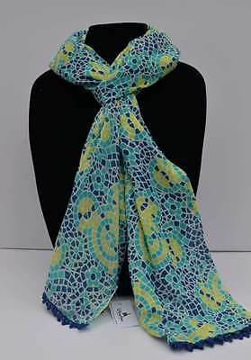 Disney Parks Mickey Icon Mosaic Scarf Beautiful Blues & Greens New With Tags