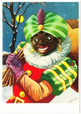 Zwarte Piet Black Pete on a Full Moon Night Dutch Christmas Postcard ()