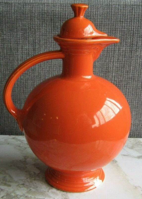 "FIESTA HLC USA Ware Radioactive Red 10"" Carafe pitcher Cork Stopper"