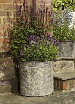 Large Round Vintage Grey Galvanised Metal Garden Flower Tub Pot Planters
