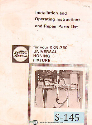 Sunnen KKN-750, Universal Honing Fixture, Install Operations and Parts Manual