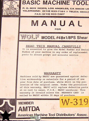 Wolf Model 48 X 18 Ps Shear Operations Parts And Maintenance Manual