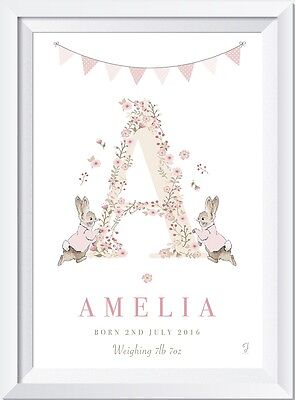 Personalised baby Peter Rabbit name LASER  CRYSTL PRINT gift christening picture