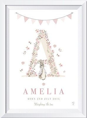 Personalised Peter Rabbit baby name LASER SW CRYSTAL PRINT gift christening