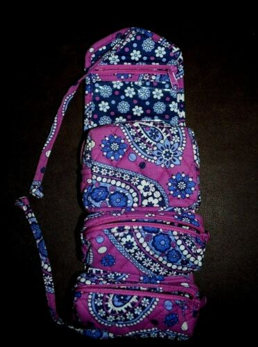 Vera Bradley Boysenberry Cosmetic Roll Up Make Up Bag w/3 Compartments VGC!