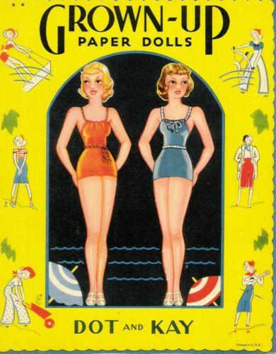 VINTAGE UNCUT 1936 GROWN-UP PAPER DOLLS~#1 REPRODUCTION~NOSTALGIC & RARE SET