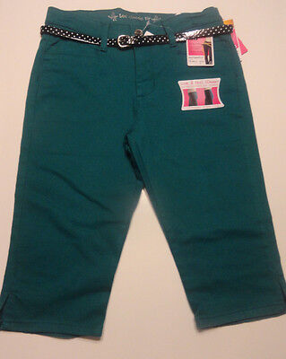 (Ladies Lee Classic Fit Slimming Skimmer Stretch Capris Calypso Green With Belt)