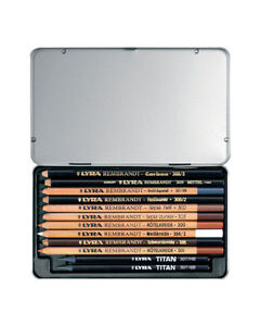 LYRA REMBRANT 12 PROFESSIONAL GRAPHITE CHALK CHARCOAL DRAWING SKETCHING PENCILS