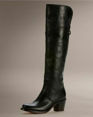 FRYE SHOES JANE TALL CUFF BOOTS BLACK LEATHER PULL ON 7 $468 77596 Jane Tall Cuff