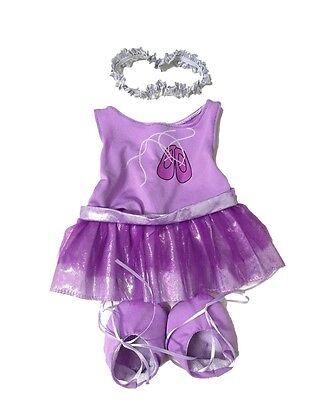 "Purple ballerina with tutu Teddy Bear Clothes to fit 15"" build a bear plush"