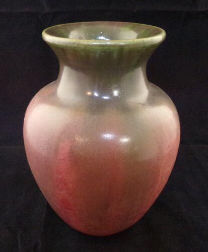 ** Fulper Pottery Baluster Vase Shape  #537 Green over Rose Arts & Crafts **