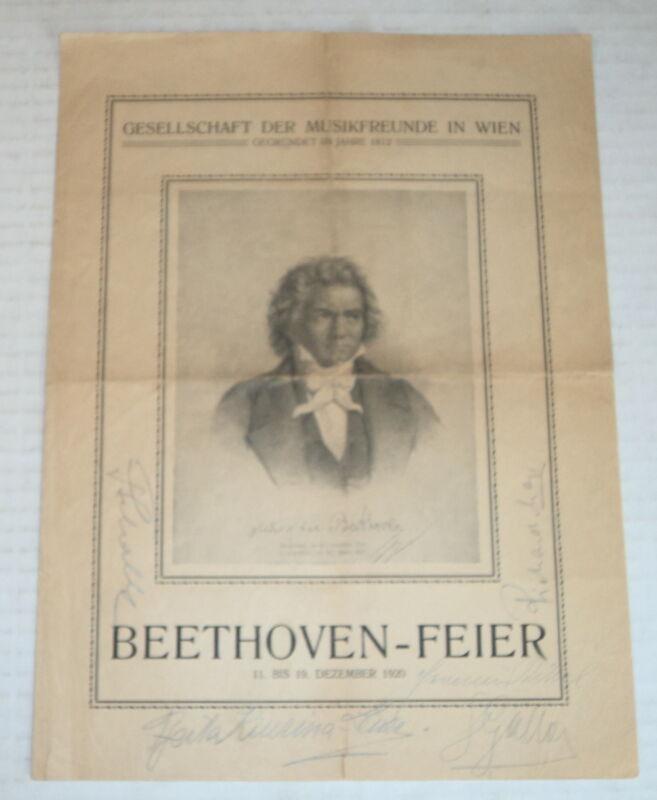 1920 MISSA SOLEMNIS, SIGNED by conductor FRANZ SCHALK & singers KITTEL, MAYR, &c
