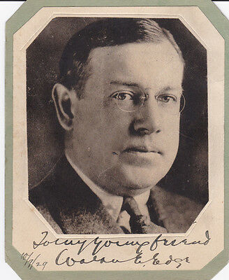 WALTER E. EDGE, NJ Governor, Senator & Ambassador to France 1929 SIGNED PORTRAIT