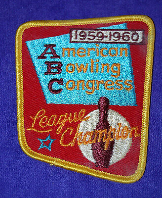 1959-1960 Abc American Bowling Congress League Champion Cloth Patch Twill