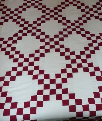 NEW DOUBLE IRISH CHAIN QUILT TOP RED/WHITE 54 X 74