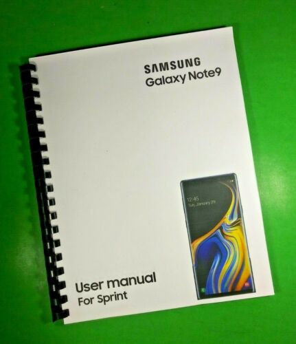 """LASER 8.5X11"""" Samsung Galaxy Note9 For Sprint Phone 183 Page Owners Manual Guide"""